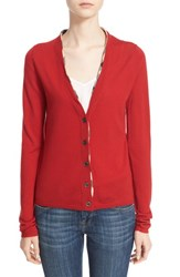 Women's Burberry Brit Check Trim Wool Cardigan Military Red