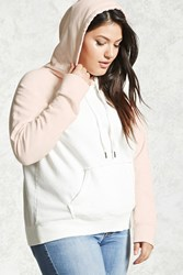 Forever 21 Plus Size Colorblock Hoodie Cream Pink