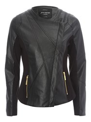 Jane Norman Pu Jersey Biker Jacket Black