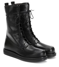 The Row Patty Leather Ankle Boots Black