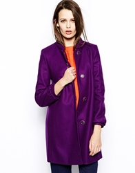 French Connection Wonderland Wool Collarless Coat Amethyst