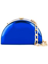 Alessandra Rich Semi Circle Clutch Women Leather Bos Taurus One Size Blue