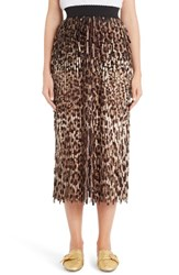 Dolce And Gabbana Women's Leopard Print Fringe Pencil Skirt