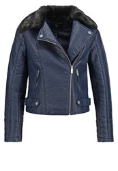 Dorothy Perkins Faux Leather Jacket Navy Blue Dark Blue