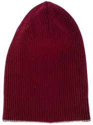 Brunello Cucinelli Ribbed Beanie Red