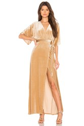 Wyldr Dreamer Velvet Maxi Dress Beige