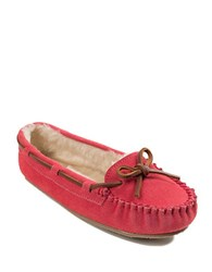 Minnetonka Cally Suede And Faux Fur Lined Moccasins Hot Pink