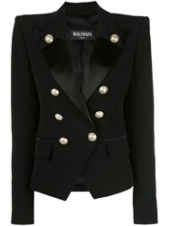 Balmain Structured Double Breasted Blazer Black