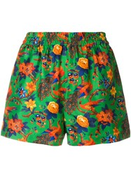 La Doublej Floral Fitted Shorts Green