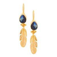 Ottoman Hands Labradorite Feather And Stone Drop Earrings Gold Grey