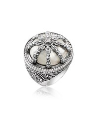 Thomas Sabo Rings Blackened Sterling Silver And Mother Of Pearl Ring W White Cubic Zirconia