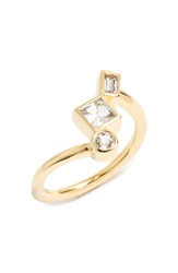 Elizabeth And James 'Roni' White Sapphire Ring Yellow Gold