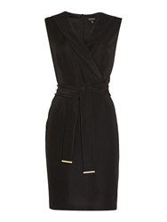 Episode Structured Ribbed Lapel Pencil Dress Black