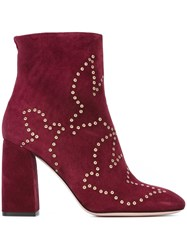 Red Valentino Eyelet Detail Booties Red