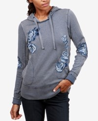 Lucky Brand Cotton Floral Embroidered Hoodie Blue Multi