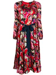 Saloni All Over Print Dress Red
