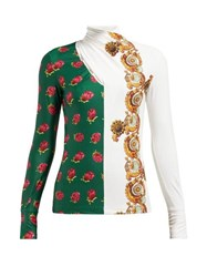 Toga Floral Print Crossover High Neck Top White Print