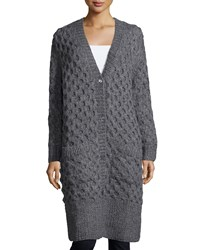 Michael Kors Collection Button Front Textured Long Cardigan Banker Melange Women's Size Xs S