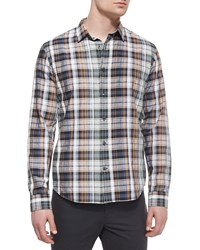 Vince Yarn Dyed Plaid Long Sleeve Shirt Green
