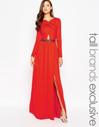 Little Mistress Tall Cut Out Maxi Dress With Embellished Waist Red
