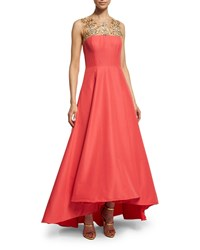 Marchesa Sleeveless Beaded Yoke High Low Gown Coral