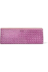 Jimmy Choo Ciggy Laser Cut Suede Clutch Violet
