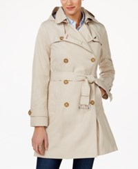 Tommy Hilfiger Hooded Water Resistant Trench Coat Sand