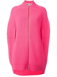 Mcq By Alexander Mcqueen Cocoon Style Knit Jacket Pink And Purple