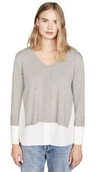 Club Monaco Mixed Media V Neck Sweater Grey White