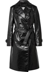 Burberry Double Breasted Leather Trench Coat Black