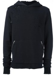 Amiri Distressed Zip Hoodie Black