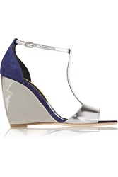 Rupert Sanderson June Mirrored Leather And Suede Wedge Sandals Metallic