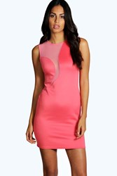 Boohoo Mesh Insert Bodycon Dress Coral