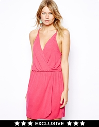 Love Jersey Wrap Front Dress Pink