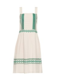 Vanessa Bruno Elda Embroidered Silk Crepe Dress White Multi