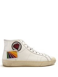Saint Laurent Court Classic High Top Leather Trainers White Multi