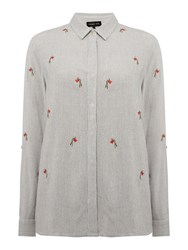 Label Lab Rose Embroidered Shirt Black White Black White
