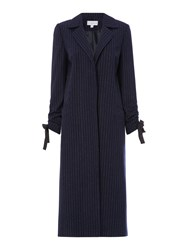 Linea Chessy Pinstripe Coat Blue