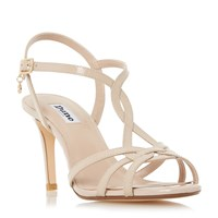 Dune Minie Knotted Strappy Mid Heel Sandals Nude