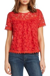 Willow And Clay Inset Detail Lace Top Poppy