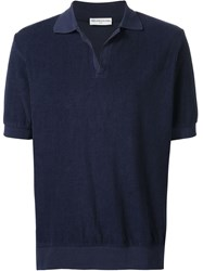Melindagloss Terry Cloth Polo Shirt Blue