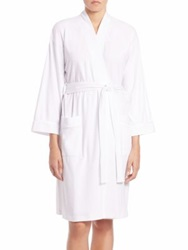 Saks Fifth Avenue Pima Cotton Jersey Robe Light Pink Light Blue White