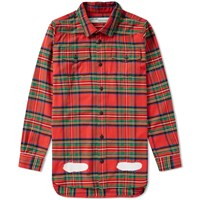 Off White Sprayed Diagonals Check Shirt Red