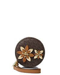 Michael Michael Kors Flower Pouch Small Coin Case Brown