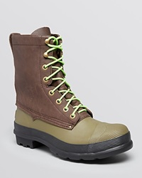 Hunter Hunting Lace Up Boots Dark Brown Neon Green