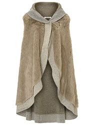 Betty Barclay Faux Fur Poncho Taupe