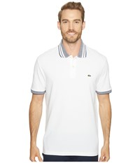 Lacoste Short Sleeve Semi Fancy Stretch W Fine Stripe Rib Slim White Ship Men's Clothing