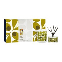 Orla Kiely Olive Acorn Fig Tree Mini Candle And Diffuser Gift Set