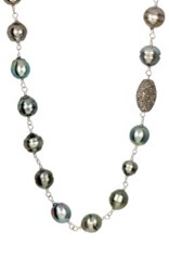 Samira 13 Women's Pearl And Wire Wrapped Chain Necklace Grey