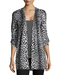 Neiman Marcus Cashmere Leopard Print Cardigan Ivory